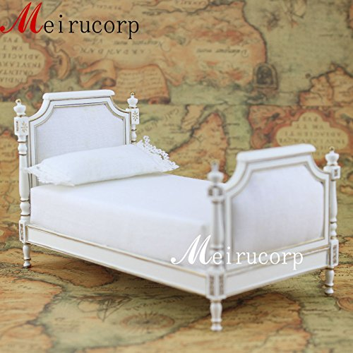 Fine 1:12 Scale Dollhouse Miniature Furniture White Wooden Hand Carved Small Bed