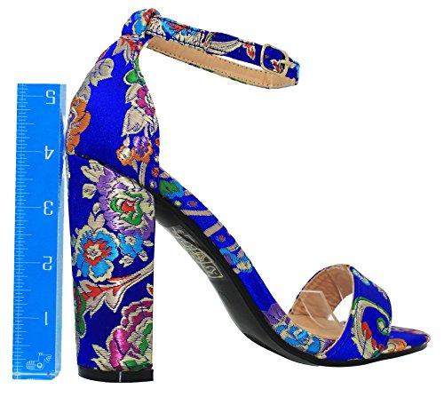 Bluemulti sandals Heeled Chunky Mve Ankle Fashion Shoes Women's 1 Strap Cnqw870