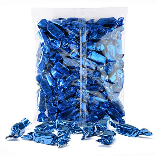 Blue Foils Chewy Taffy Candy, 1-Pound Bag of Blue Color Themed Kosher Candies Individually Wrapped Raspberry Fruit-Flavored Taffies (NET WT 454g, About 63 Pieces)