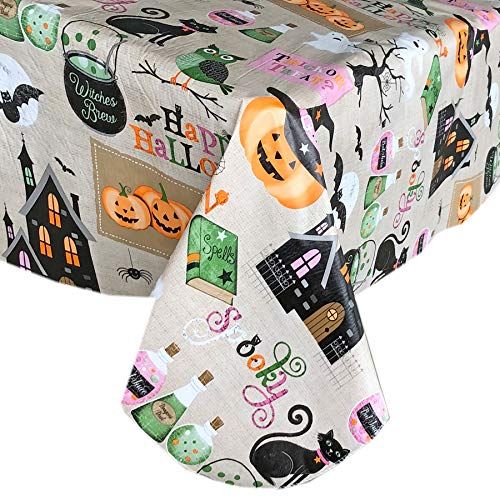 Halloween Vinyl Tablecloth (Newbridge Happy Halloween Witches Brew Vinyl Flannel Backed Tablecloth - Ghosts, Bats, Witches Spells and Haunted House Halloween Tablecloth, Easy Care Wipe Clean, 60