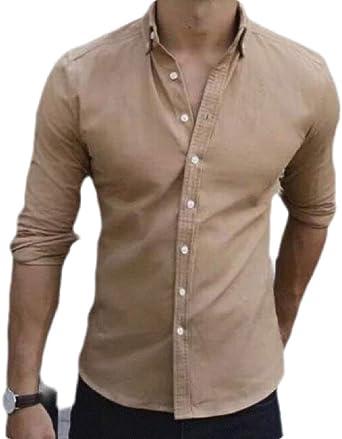 Gocgt Camisa de Manga Larga con Botones para Hombre, diseño ...