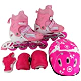 Ajustable Roller Skate with Safety Protector Set (pink, S:31-34) (Pink, 31-34)