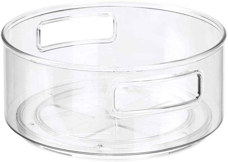 Clear Ideal Cabinet Organiser for Medical Supplies Vitamins Supplements and More Rotating Round Storage Container for Medication and Health Supplements mDesign Lazy Susan Tray