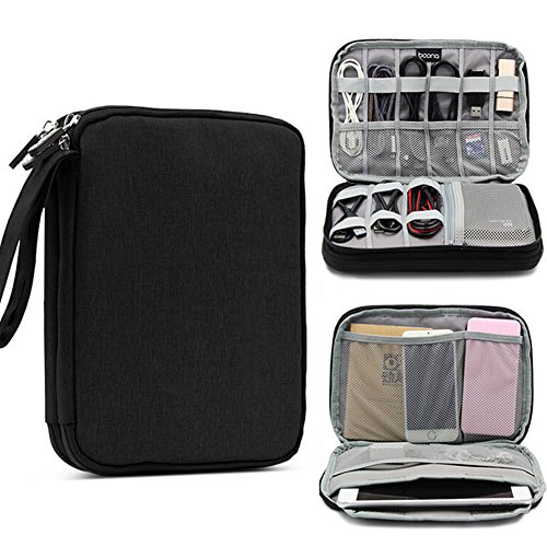 Price comparison product image Binpure 4 Types Layer Electronic Accessories Organizer Travel Gadget Carry Bag For Earphone,  USB,  Charge Cable (24x18x4 cm,  black)