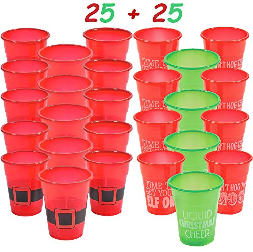 Christmas Plastic Humorous and Santa Cups Bulk Assortment, Pack of 50 Holiday Deposable Party Drinking Cups, By 4E's Novelty (Drinking Cups Novelty)