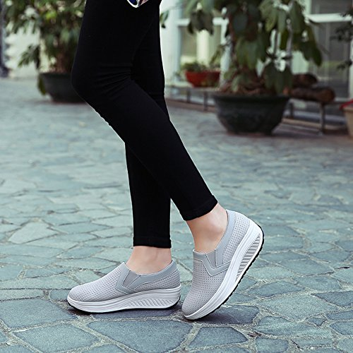 On Shoes Mesh LOUBIT Comfort Walking Wedge Slip Sneakers Shoes Breathable Women L Grey f8qFgwHF