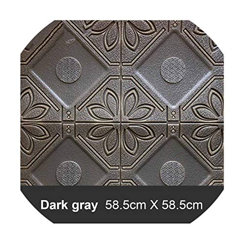 3D Stereo Wall Stickers Ceiling Living Room TV Background Wall Painting Home Decor Waterproof Self Adhesive Wallpaper,Dark Gray,4pcs ()