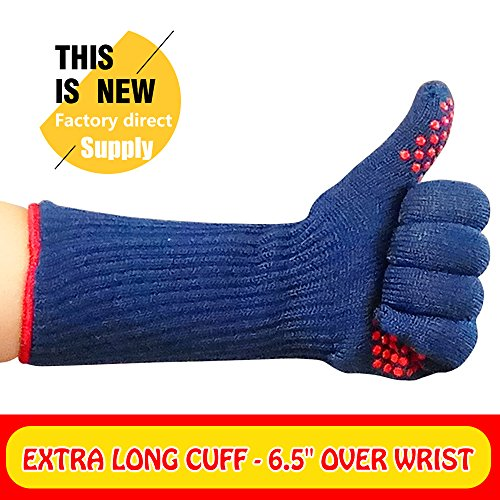 Mig4U BBQ Gloves - Grill Cooking indoor or outdoor hot pad gloves Extra 6.5''long cuff BEST for forearm protection- 1 Pair - Frying & Baking -Use as pot holders,BBQ Accessories Silicone oven mit (15.0) by MIGLIOREU