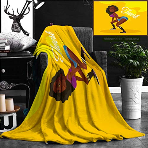 Nalagoo Unique Custom Flannel Blankets Twerk Dance Black Woman Flat Illustration Super Soft Blanketry for Bed Couch, Throw Blanket 70