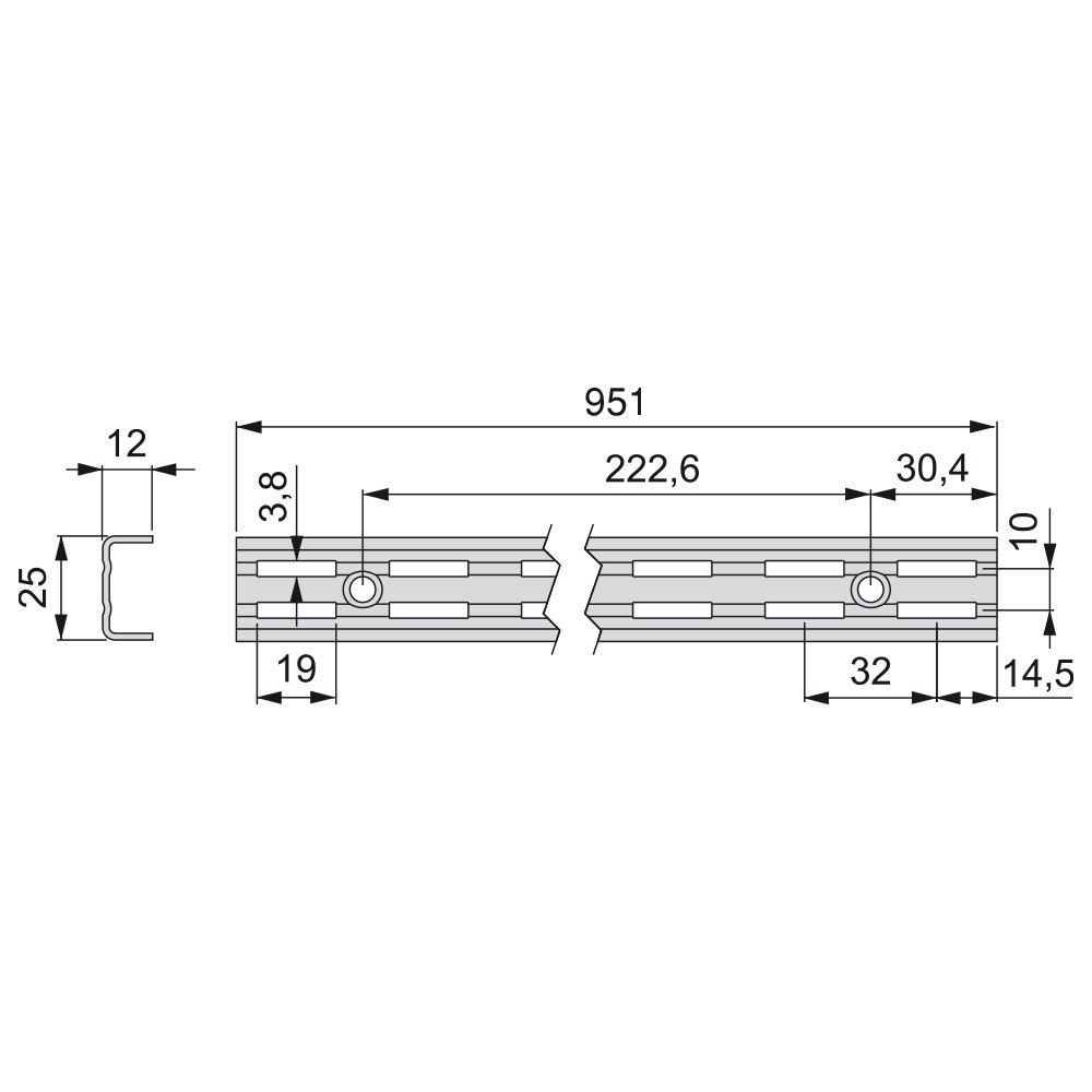 Emuca 7908612 Escuadras de estante para perfil cremallera perforaci/ón doble paso 32mm Set de 20 piezas Blanco 220mm
