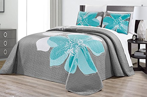 """3-Piece Fine Printed Oversize (118"""" X 95"""") Quilt Set Reversible Bedspread Coverlet (California) Cal King Size Bed Cover (Aqua Blue, Grey, White Hibiscus Floral)"""