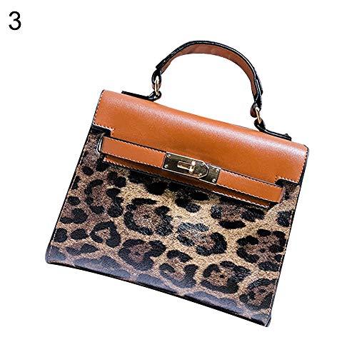 (dna18729nd Vintage Leopard Print Faux Leather Women Messenger Pouch Shoulder Bag Handbag - Brown)