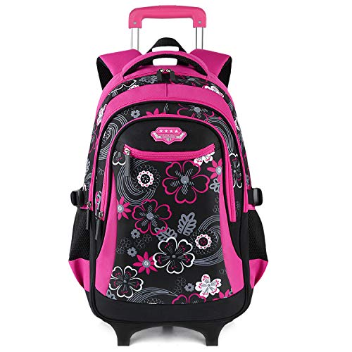 Wheeled Backpack, Fanspack 2019 New Rolling Backpack for Girls School Roller Backpack kids Rolling Bookbag Waterproof Backpack
