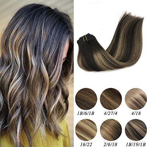 Labeh 100% Real Human Hair Clip In Extensions Natural Black 1B Highlighted Dirty Ash Blodne Ombre Clip In Hair Extensions Double Weft 7pcs 120g 18inch ()