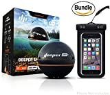 Deeper Smart Sonar PRO+ Series, 2.55'', Black - GPS, Wi-Fi Connected Wireless, Castable, Portable Smart Fishfinder for iOS & Android Devices & Universal Waterproof CellPhone Case (Bundle)