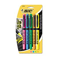 BIC: Brite Liner Grip Highlighter, punta de cincel, cinco colores fluorescentes por juego -: Se venden como 2 paquetes de - 5 - /- Total de 10 cada uno