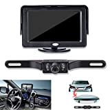 Backup Camera and Monitor Kit,Chuanganzhuo Backup License Plate CMOS Car Reverse Camera With Night Version + 4.3