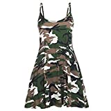 FashionMark Women's Camouflage Army Print Camisole Flared Dress