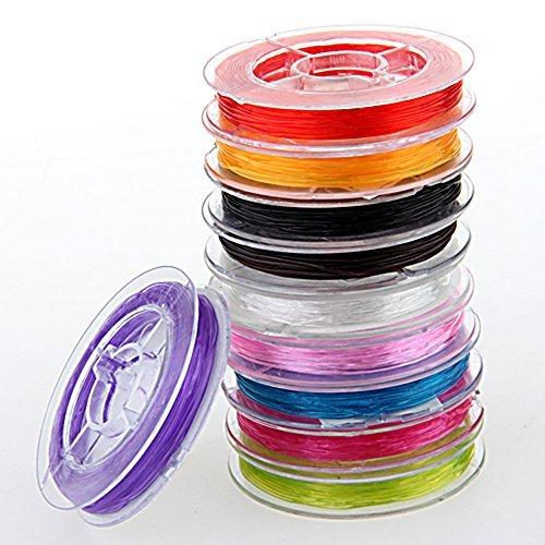 10x Rolle elastisch Faden Schmuckfaden Gummifaden 0.6mm
