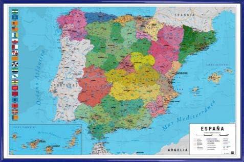 1art1 Mapas Póster (91x61 cm) Mapa España Fisico Politico Y 1 Lote De 2 Varillas Negras: Amazon.es: Hogar