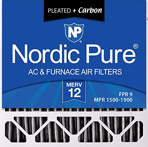 (Nordic Pure 20x20x5HPM12C-2 Honeywell Replacement Pleated MERV 12 Plus Carbon Filter (2 Pack), 20 x 20 x 5