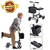 GC Global Direct Steerable Knee Folding Scooter Walker Medical w/ Basket & Brake (Black)