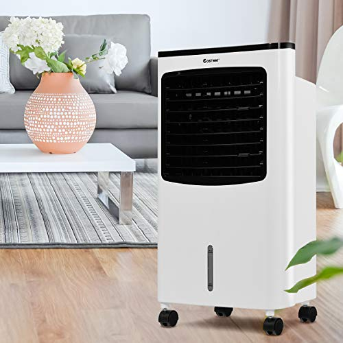 COSTWAY Evaporative Air Cooler, Portable Air Cooler with Fan & Humidifier Bladeless Quiet Electric Fan w/Remote Control for Indoor Home Office Dorms (29'' H) by COSTWAY (Image #6)