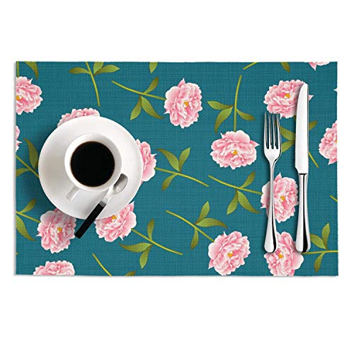 Set Of 2 Placemats 12X18 PVC Woven Vinyl pink roses flower blue background Heat-Resistant Stain Resistant Easy To Clean Table Mat For Kitchen Dining Coffee from JUDFIOJF