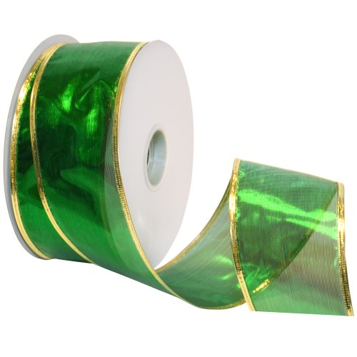 - Morex Ribbon Gleam Wired Metallic Sheer Ribbon, 2-1/2-Inch by 50-Yard Spool, Emerald