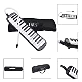 Baisidai 32 Key Piano Style Melodica With Box Organ Accordion Mouth Piece Blow Key Board (Black)
