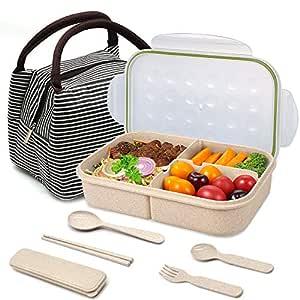 Caja Bento, caja Bento para niños, a prueba de fugas con 3 ...