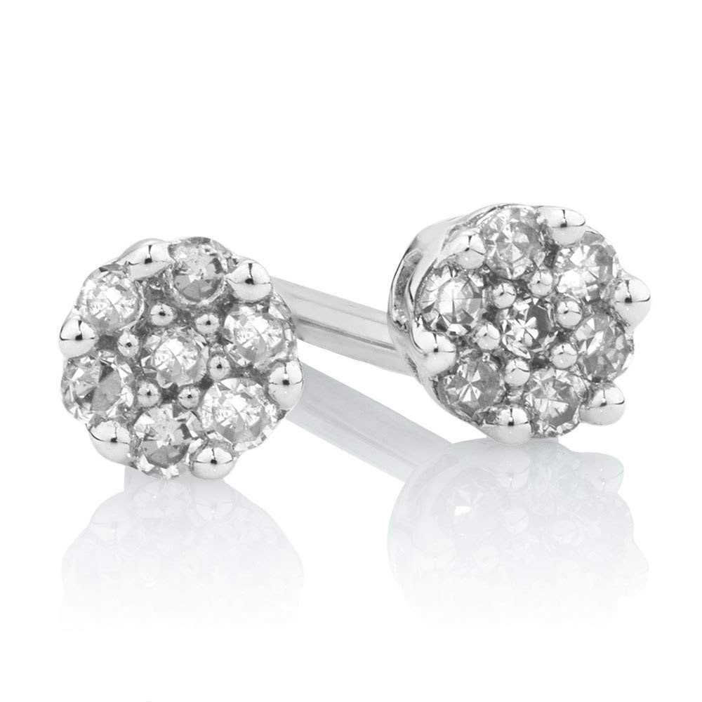 Dividiamonds Womens Cluster Stud Earrings With 0.05 Lab Cr̥eated Diamonds In 14K White Gold Plated .925