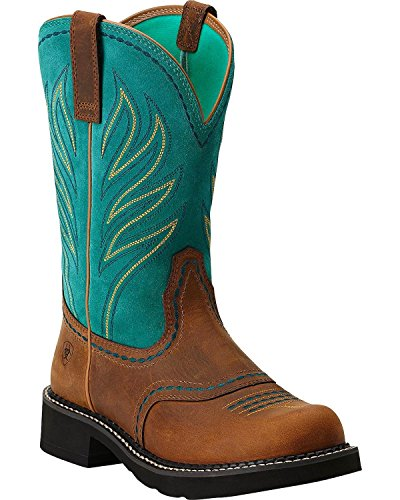 Ariat Women's Probaby Flame Boot,Distressted Brown/Turquoise,9.5 M US