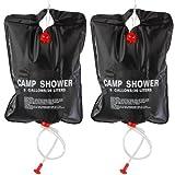 TRIXES 2 x 20 Ltr Camping Shower - Portable Solar Heated 5 Gallon/20 Litre Travel Shower - Black