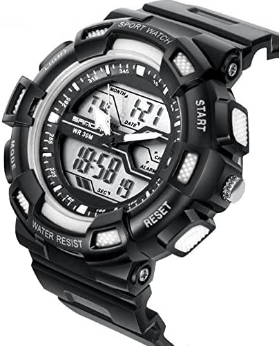 DualTime Digital Analog Water Resistant Outdoor Sport Chronograph Wrist Watch for Kids Boys Black+White