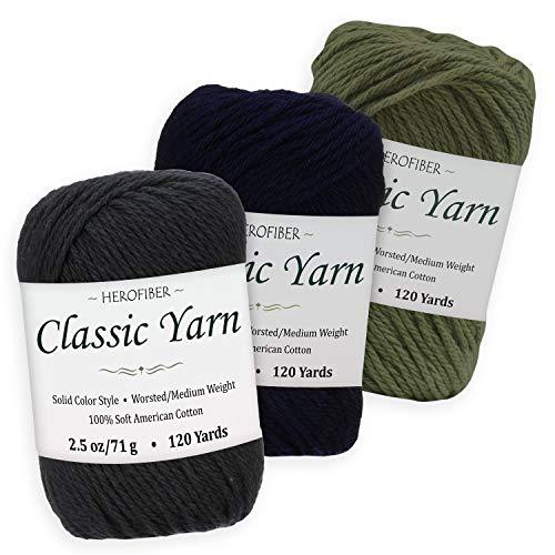 (Cotton Yarn Assortment   Black + Dark Navy + Khaki Green   2.5oz / Ball - 3 Solid Colors - Worsted/Medium Weight - for Knitting, Crochet, Needlework, Decor, Arts & Crafts Projects)