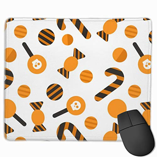 Cartoon Candy Bone Anti-Slip Unique Designs Gaming Mouse Pad Black Cloth Rectangle Mousepad Art Natural Rubber Mouse Mat with Stitched Edges 9.811.8 Inch