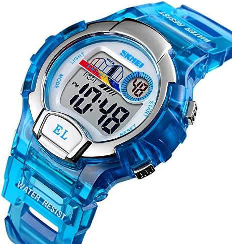 多機能スポーツウォッチ LEDデジタルキッズ腕時計 透明ブルー