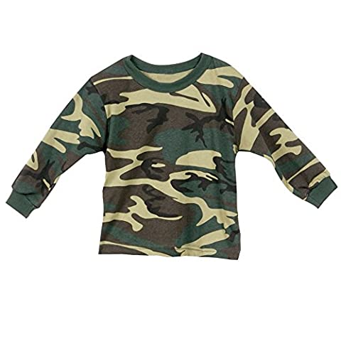 Children's Camouflage Toddler Long Sleeve T-Shirt - Crew Neck - 2T - Woodland Camouflage Tee T-shirt Top