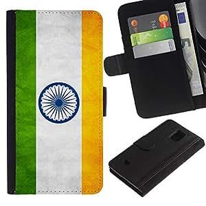 EuroCase - Samsung Galaxy S5 Mini, SM-G800, NOT S5 REGULAR! - India Grunge Flag - Cuero PU Delgado caso cubierta Shell Armor Funda Case Cover