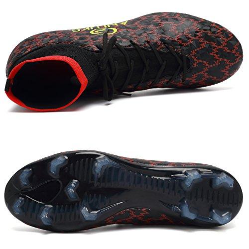 ANLUKE Männer Athletic Hightop Stollen Fußball Training Schuhe Fußball Team Turf T / Schwarz / Rot