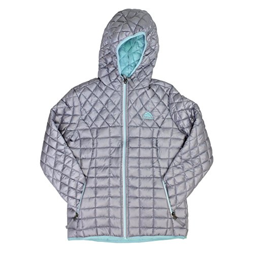 - Snozu Glacier Shield Hooded Quilted Jacket for Girls (Medium / 10-12, Silver)