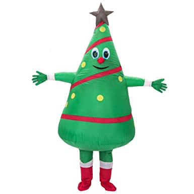 222221df766a TOLOCO Inflatable Christmas Tree Costume for Adults Christmas Cosplay Party  Blow Up Costumes One Size