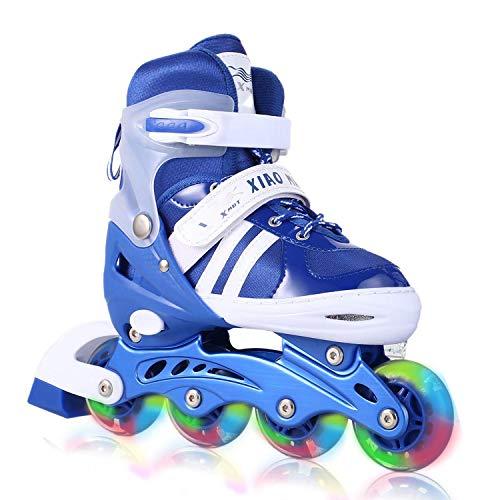 Aceshin Adjustable Inline Skates with Light up Wheels Beginner Rollerblades Fun Illuminating Roller Skates for Kids (US Stock) (Blue, S)