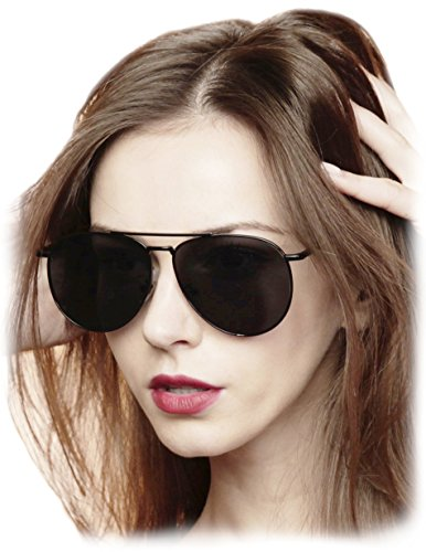 O2 Eyewear 97025 Premium Oversized Flat Aviator Mirrored Sunglass Womens Mens (PREMIUM FLAT, SOLID BLACK)