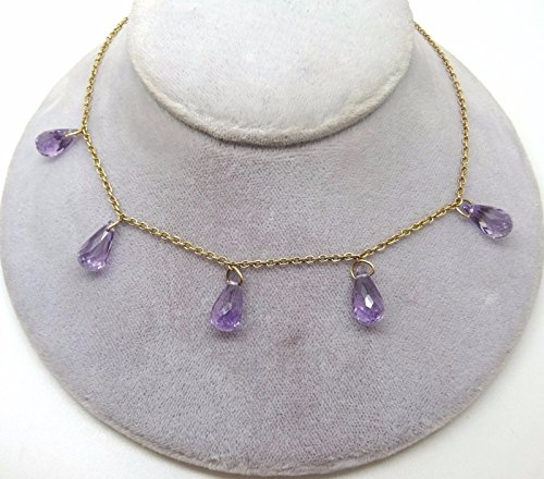 9k English Gold Necklace with Briolette Genuine Natural Amethysts (#J1172)