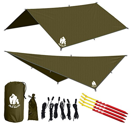 CHILL-GORILLA-10-HAMMOCK-RAIN-FLY-TENT-TARP-Waterproof-Camping-Shelter-Lightweight-RIPSTOP-NYLON-Not-Cheap-Polyester-Stakes-Included-Survival-Gear-Backpacking-Camping-ENO-Accessory