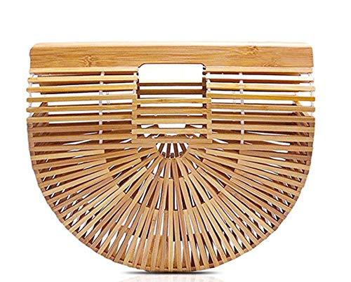 (Hossejoy Bamboo Handbag Handmade Bamboo Bag Summer Bench Tote Bag For Women, Natural Bamboo, 11.35