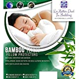 4 Pack Bamboo Terry Premium Pillow Protectors, 100% Waterpoof , zippered Encasement Case , Antimicrobial, Hypoallergenic Pillow Covers, Dust Mite, bed bug proof , Eco-friendly Bedding, Standard Size