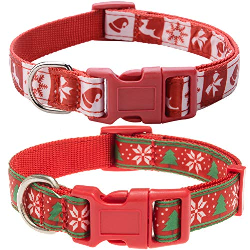 EXPAWLORER 2 Pack Unique Christmas Dog Collars - Adjustable Sturdy Nylon Collars Small to Large Dogs,Red